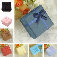1~24PCS Paper Square Bowknot Ring Earring Necklace Jewelry Box Case Display Gift