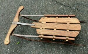 """Vintage Small (28"""") Steel Runner Snow Sled - Nice Weathered Patina"""