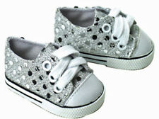 """Silver Sequin Tennis Sneakers for 18"""" Doll"""