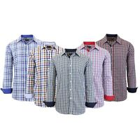 Mens Long Sleeve Dress Shirts Slim Fit Casual 100% Cotton Plaid Lounge Work NEW