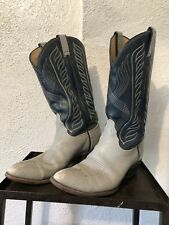 Vintage Tony Lama  Men's Gray/Navy Leather Cowboy Western Boots 8056 Tall 9 D