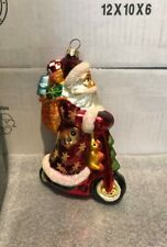Christopher Radko Santa On Scooter With Big Sack Of Toys