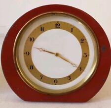 Antique 1920's Painted Metal Art Deco Mini Red Mantel Shelf Clock Made USA
