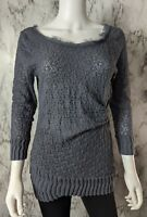 Deletta Anthropologie L Large Gray Overlapping Lace Top Blouse