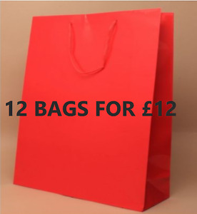 12 LARGE RED GIFT BAGS FOR HER HIM LARGE PRESENTS QUALITY WRAPPING