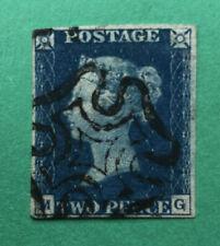 Great Britain. 1840 Two Pence 2d Blue. Black Maltese Cross Cancel. 4 Margins
