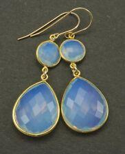 14k Gold Opalite Earrings Long Faceted Bezel Teardrop Dangle Drop Double 2 Inch