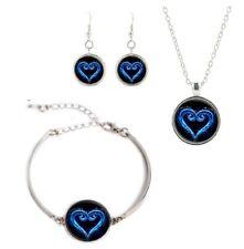 Kingdom Hearts Logo Glass Domed Pendant Necklace, Earrings, Bracelet Set
