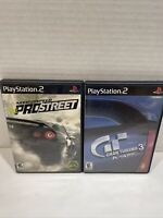 Ps2 Playstation 2 Racing Lot Need For Speed Pro Street Gran Turismo 3 A-spec