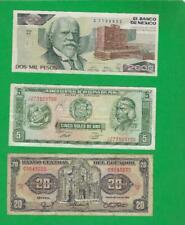MEXICO , PERU & ECUADOR ~ 3 X OLD PAPER MONEY LOT # 3881 (*-*)