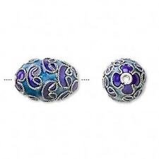 3577 Cloisonne Beads Blue Oval PK4 17mm *UK EBAY SHOP*