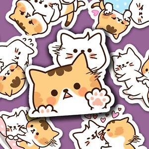 40 Cute Cat Friends Kawaii Stickers Journal, Diary Stickers, Scrapbooking [USA]