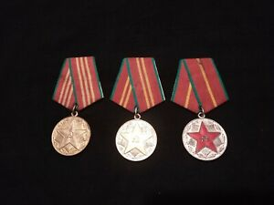 ☭Military Russian Soviet Medal x3 Excellent Service 10/15/20 Years USSR CCCP