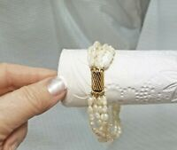 Vintage Freshwater Pearl Multi Strand Bridal Bracelet