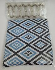 13 pc Mainstay SHOWER CURTAIN & HOOKS - Blue Black White - Diamond Pattern