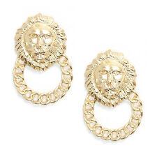 Celebrity Golden Lion Head Statement Door Knocker Loop Earrings Stud Fancy Dress