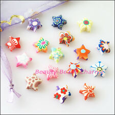 45Pcs Mixed Handmade Polymer Fimo Clay Star Flat Spacer Beads Charms 10mm