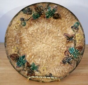 """Antique CLIFTON DECOR B MAJOLICA Plate Blackberry Pattern Pebbled background 8"""""""