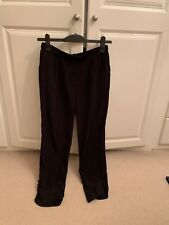 River Island Black Satin Look Jogger Trousers Button Detail Hem Elastic Waist 10
