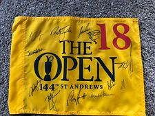 St. Andrews Open Championship Pin Flag signed by13 Past Champs-Faldo,Norman
