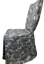 Waverly Garden Room Blue Floral with Gingham Fabric Dining Room Chair Cover