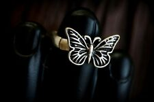 Rustic Boho Silver Burnished Stretch Butterfly  Ring - adjustable fit any size