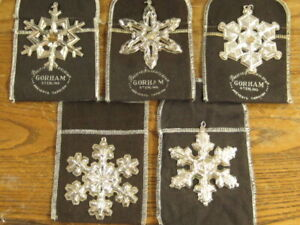 GORHAM STERLING CHRISTMAS ORNAMENTS (5) TOTAL WITH BAGS FREE SHIPPING
