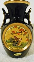 The Art Of Cloisonne, 24Kt Gold Edged,Small Black Vase,Made in Japan,5x3x2.75 in