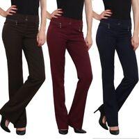 Women's Trousers straight leg Office Business  Work school with Zips UK 6-18