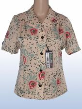 donna camicia blusa vintage beige made italy taglia it 42 m medium manica corta
