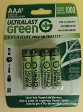 8 AAA Rechargeable Batteries Pre-Charged Ultralast Green