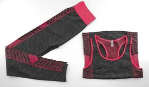 Sonderposten ++ Fitness Outfit ++ Legging Set ++ grau/pink ++ one size ++
