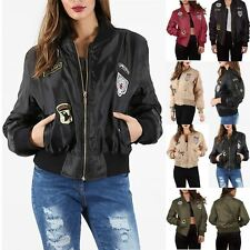 Womens  Army Military Bomber Jacket Designer Lightweight Scooter 1970's Coat Top