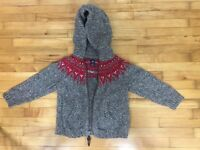 Baby Gap Boys Fair Isle Cotton/Wool Hoodie Cardigan 2T