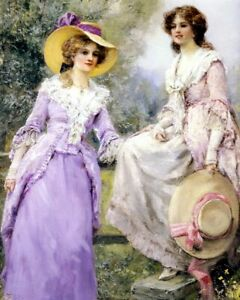 9x6 Art Print Victorian Women Ladies Summer Walk AT THE STILE Gowns Straw Hats