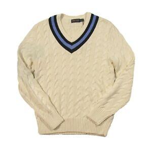 Polo Golf Ralph Lauren Men's Cream Cable Knit V-Neck Cricket Sweater $228