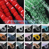 4mm 200pcs Cube Square Faceted Crystal Glass Loose Spacer Beads lot DIY Jewelry
