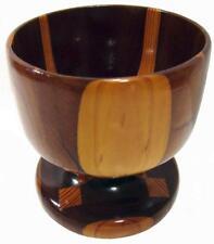Wood Marquetry Pedestal Bowl 50's Vintage Large 15.5 x 15.5 cm Diameter