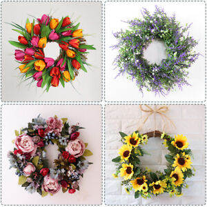 Beautiful Artificial Spring Flowers Wreath Garland Front Door or Home Decoration