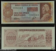 Bolivia Paper Money 100000 Pesos Bolivianos 1984 UNC