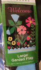 new welcome large garden flag black spring flowers