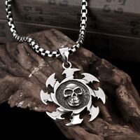 Mens Stainless Steel Silver Curb Chain Link Pendant Necklace Skull Jewelry Charm