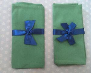 "Christmas Green Napkin Set  2 Piece 100% Cotton  Made In England -13.25"""