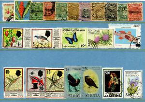 BU30 British Colonies Trinidad&Tobago + 23v used Fauna Birds Fishes Butterflies