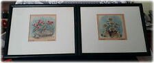 Lot of 2 Vintage 1947 Framed Paintings By Bruckner Of Garmisch Flowers