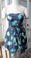 Hollister Dress With Fabric Belt Size Large Blue Floral Sleeveless NWT