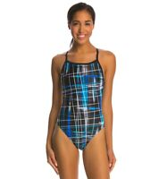 Speedo Women's PowerFlex Eco Laser Sticks Pulse Back One Piece Swimsuit