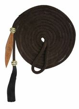 21' Nylon Mecate Bosal Reins with Horse Hair Tassle & Leather Popper BROWN