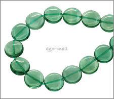 17 Blue Green Fluorite Coin Round Beads 12mm A #85354