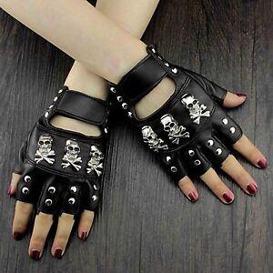 Cool Three Skull Studded Punk Rock Biker Womens Fingerless Leather Gloves #3034